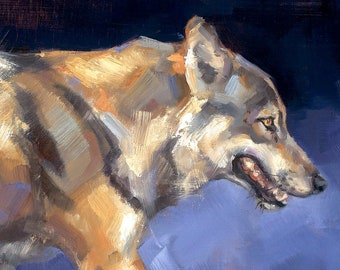 MEXICAN RED WOLF Orignal Oil Painting