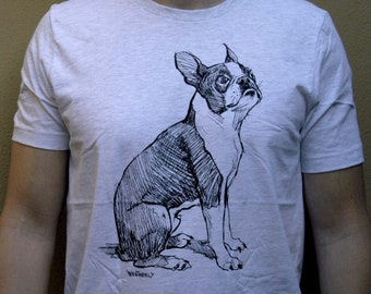 BOSTON TERRIER T-SHIRT, Men's/Unisex, Fauna Shirts, Quality fitted-crew neck Tee