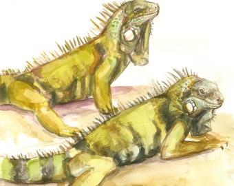 Green Iguanas ORIGINAL WATERCOLOR PAINTING