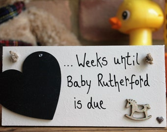 Personalized Baby Countdown Plaque, Baby Countdown, baby countdown blocks, Pregnancy Gift, Baby Shower Gift, Baby Countdown Sign