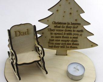 Remembrance Chair Christmas Decoration-Memorial Christmas Ornament-In Memory-Christmas Home Decor-Wooden Gifts for Christmas-Christmas Gift