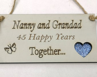 45th Wedding Anniversary Gift-Sapphire Wedding Gift-Nanny and Grandad Gift-Personalised 45th Sapphire Wedding Gift-Nanny and Grandad 45th