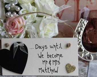 Wedding Countdown Gold - Wedding Countdown Plaque - Wedding Countdown-Wedding Countdown Board -Wedding Countdown Sign -Days Until I Do Sign