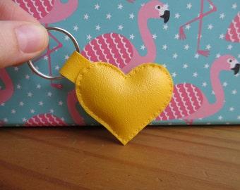 Mini yellow heart keychain