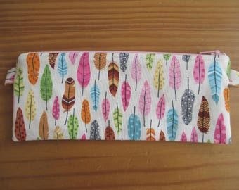 Colored feathers pencil pouch