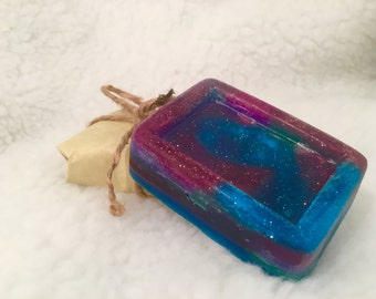 Galaxy glitter glycerin soap