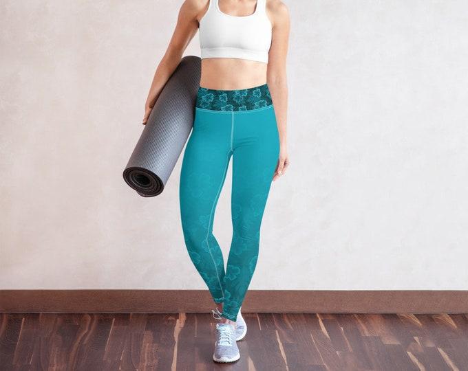 Floral Yoga Leggings | Teal and Floral Leggings