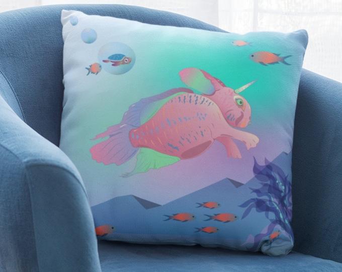 Art Print Pillow Case (22x22) - Seabunny Adventures | Fantasy Art Pillow Cover