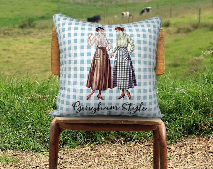 Retro Pillow Cover (22x22) - Gingham Style (Blue)   Farmhouse Pillowcase