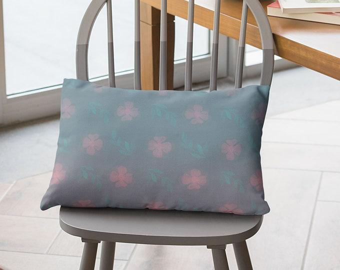 Throw Pillow Case (20X14)-Dusty Rose   Floral Pillow Cover   Garden Pillow Cover