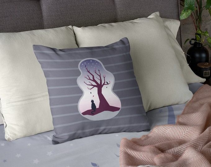 Cat and Tree Pillow Case (18x18) - Waiting | Trees Pillow Case