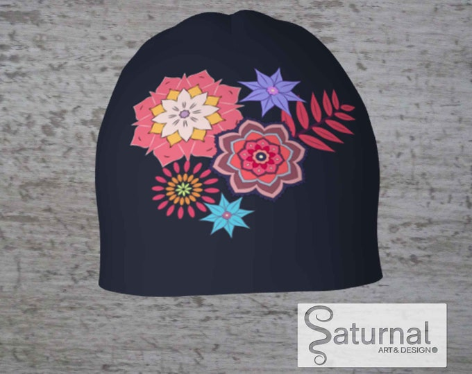 Printed Beanie, Printed Hat - Blue Before the Fall (Dark gray)