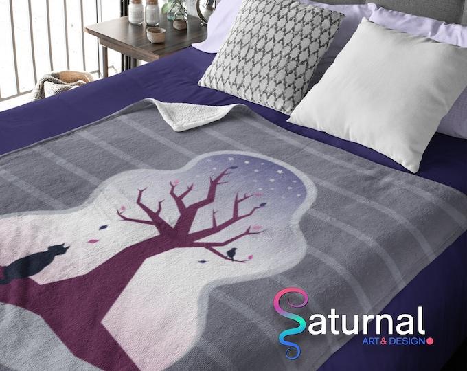 Cat and Tree Plush Blanket | Velveteen Cat and Tree Blanket