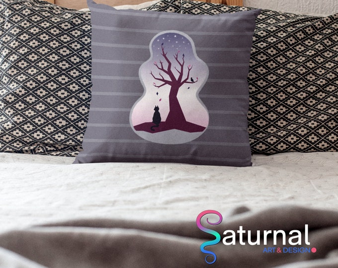 Cat and Tree Pillow Case (22x22) - Waiting | Trees Pillow Case
