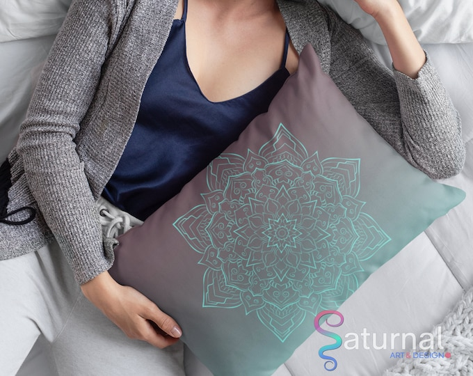 Ombre Mandala Lumbar Pillow - Rusted Ice | Mandala Throw Pillow