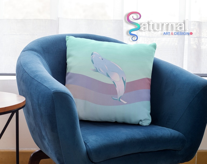 Retro Whale Designer Pillow Case (22x22)- Waves of Hope | Pastel Whale Pillow Cover