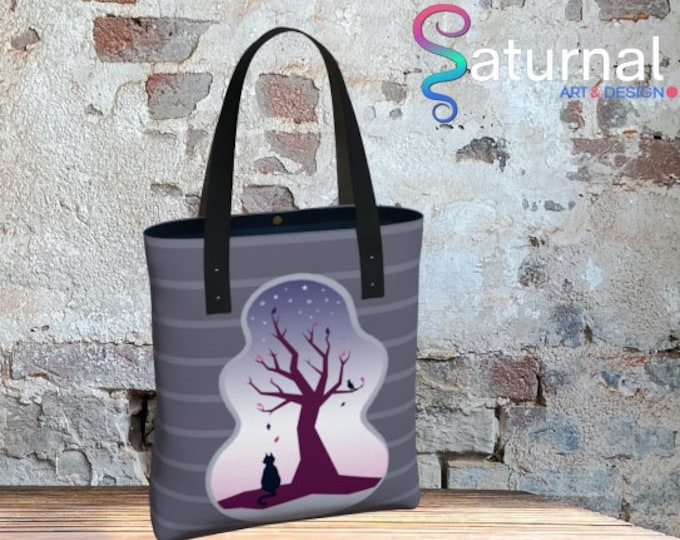 Cat and Tree Tote Bag - Waiting | Cat Shopping Bag