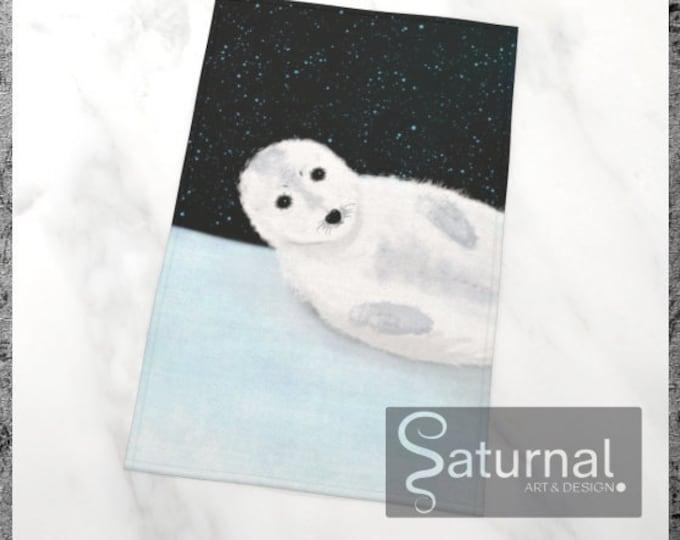 Baby Seal Art Print Tea Towel - Star Bathing