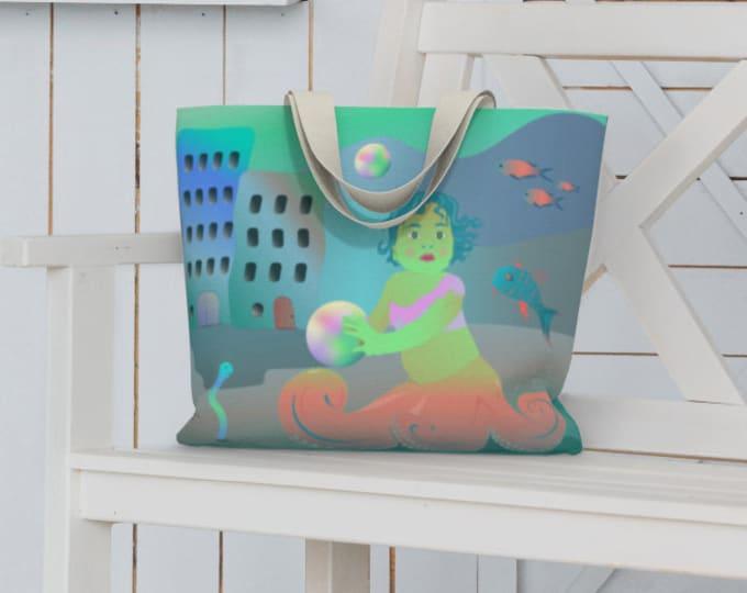 Fantasy Art Large Tote Bag - Playtime in Lemuria | Unique Nautical Beach Bag | Mermaid Reusable Tote Bag