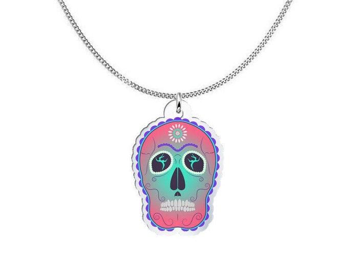 Coloured Pendant Necklace - Spellbound Sugar Scull