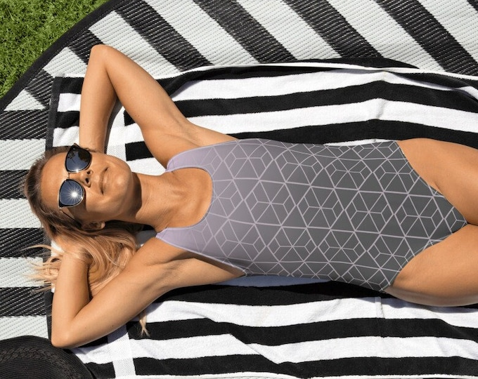 Gray and Pink One-Piece Swimsuit | Gray Geometric Ombre Swimsuit