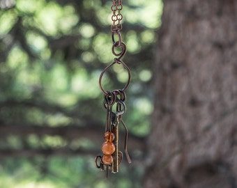 Copper necklace, Skelleton key, Antique necklace, Copper wire, Copper chain, Handmade necklace, Rustic necklace, Tassel necklace