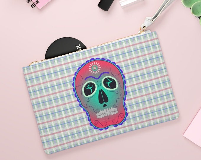 Sugar Skull Illustrated Clutch Bag | Sugar Skull Designer Bag