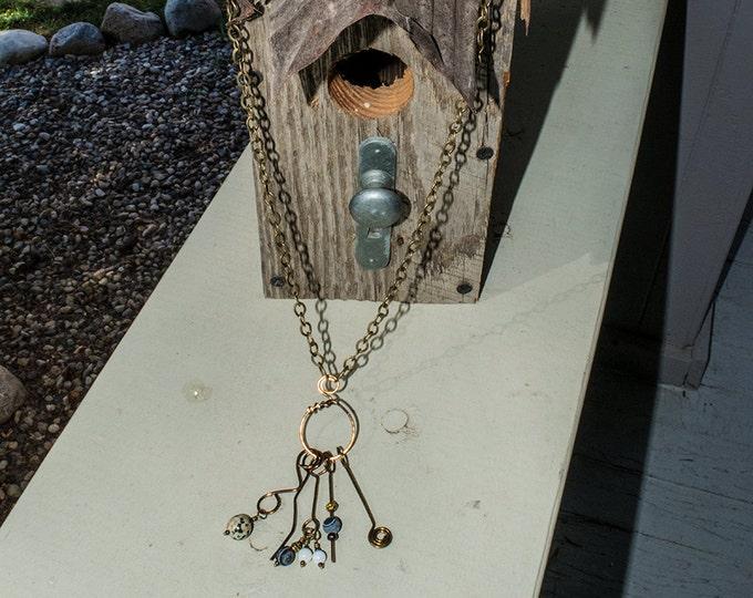 Bronze necklace, Bronze wire necklace, Bronze chain, Long necklace, Boho necklace, Handmade necklace, Charm necklace, Tassle necklace