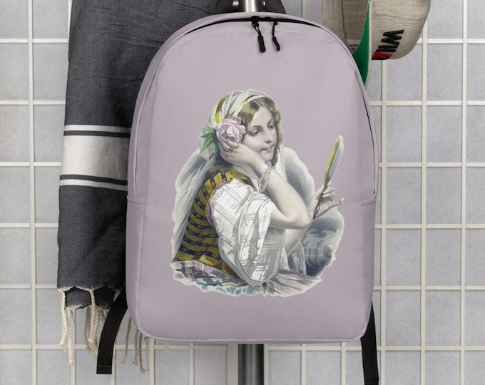 Minimalist Backpack - The Gypsy in a Lily Pink | Vintage Gypsy Illustration Backpack
