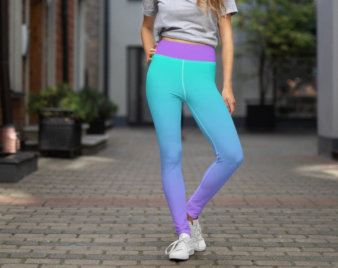 Yoga Leggings | Purple and Teal Ombre Leggings | Athletic Yoga Leggings
