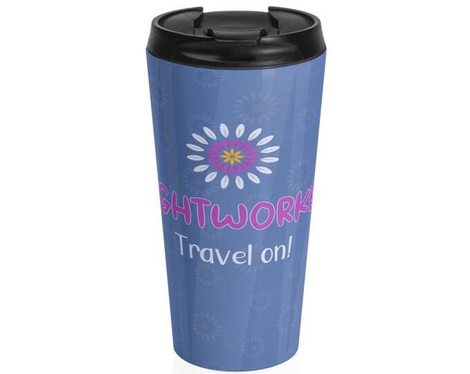 Printed Stainless Steel Travel Mug - Lightworker, Travel on