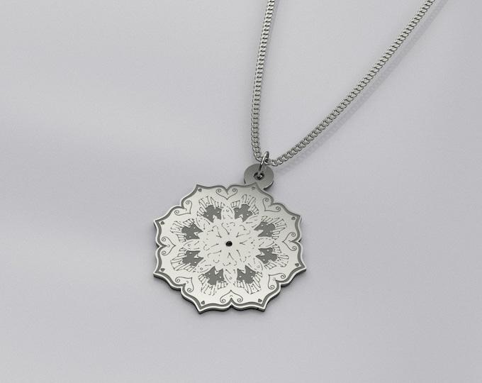 Silver Mandala Necklace - Reflection | Mandala Charm Necklace