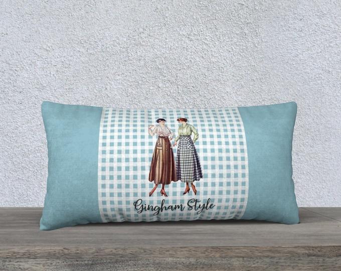 Retro Pillow cover (24x12) - Gingham Style | Vintage Pillowcase