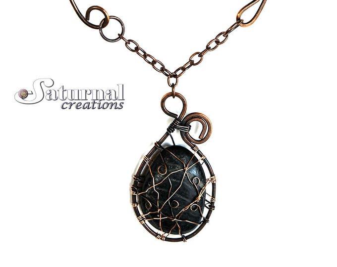 Dreamcatcher necklace, Copper necklace, Stone necklace, Spiritual necklace, Copper wire necklace, Handmade necklace, Statement necklace