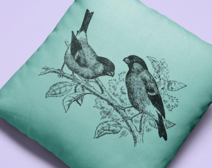 Vintage Bull Finch Illustration Pillow Case (22X22) | Vintage Bird Illustration Throw Pillow Case