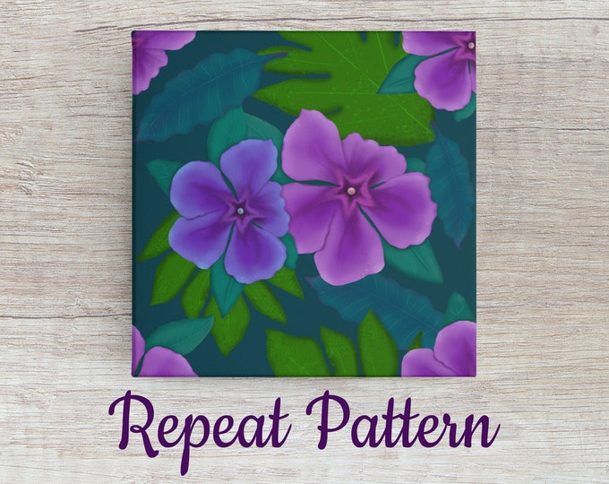 Tropical Seamless Repeat Pattern Download (Barbados Beauty) | Floral Repeat Pattern Swatch