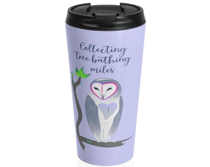 Owl Print Stainless Steel Travel Mug - Repose in purple