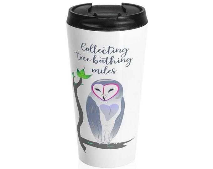 Owl Print Stainless Steel Travel Mug - Repose