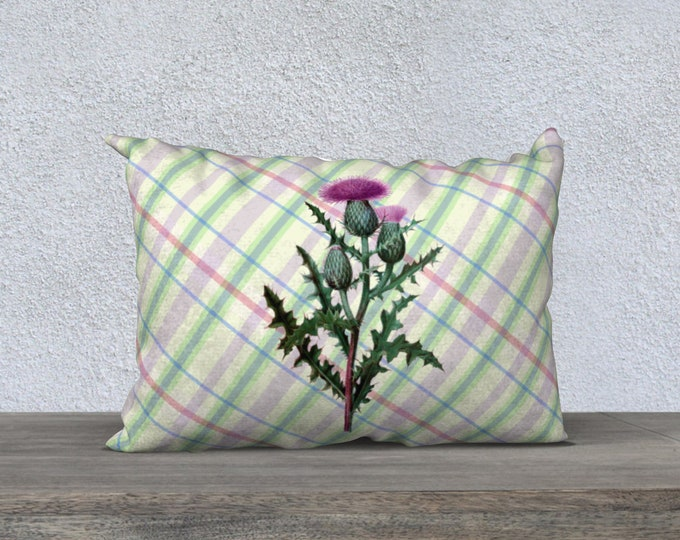 Thistle Pillow Case (20X14)-Scottish Summer Plaid | Plaid Accent Pillow Cover