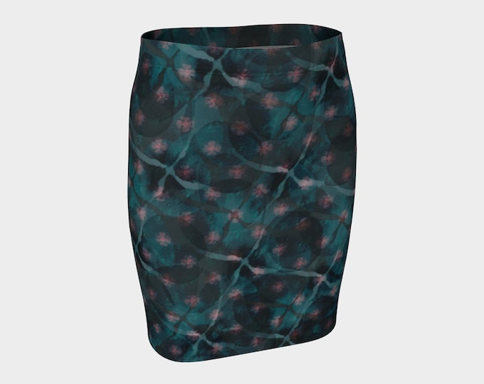 Printed Fitted Skirt - Midnight Garden | Floral Pencil Skirt
