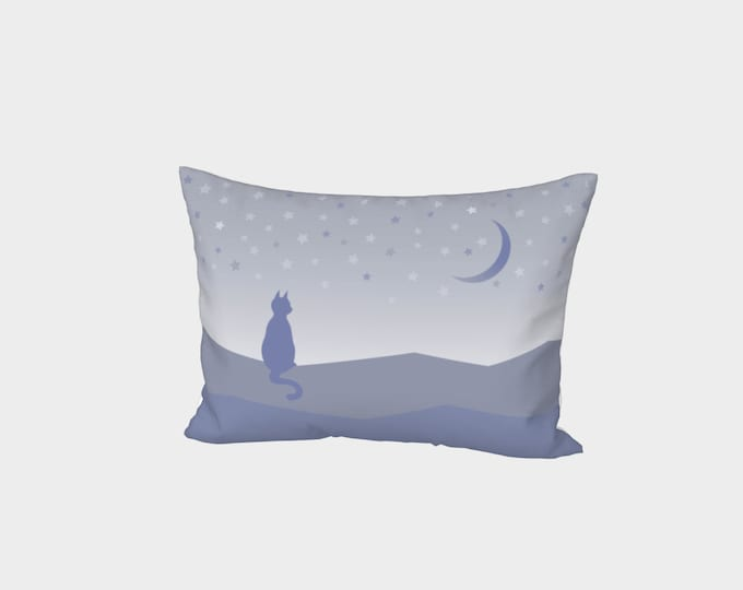 Cat and Stars Bed Pillowcase - Beauty at Rest | Moon and Stars Pillow Case