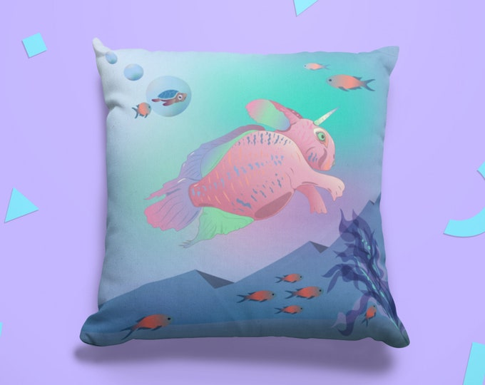 Art Print Pillow Case (18x18) - Seabunny Adventures | Fantasy Art Pillow Cover
