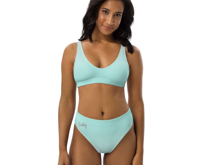 Recycled high-waisted bikini (Salty) | TEal Ombre Swimsuit
