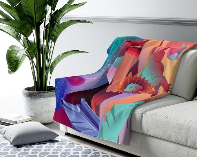 Art Print Sherpa Fleece Blanket - Sunrise in the Crystal Desert