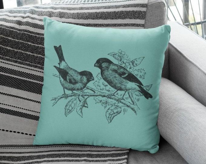 Vintage Bull Finch Illustration Pillow Case (18x18) | Vintage Bird Illustration Throw Pillow Case
