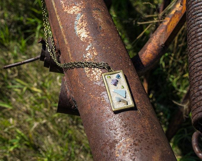 Mosaic necklace, Bronze necklace, Mosaic, Rustic necklace, Handmade necklace, Boho necklace, Long necklace