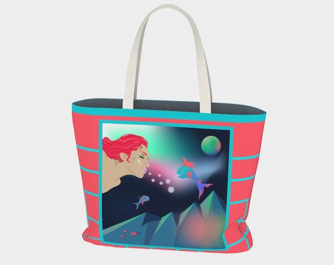 Fantasy Art Large Tote Bag - Nammu's Gifts | Nautical Beach Bag | Art Print Reusable Bag