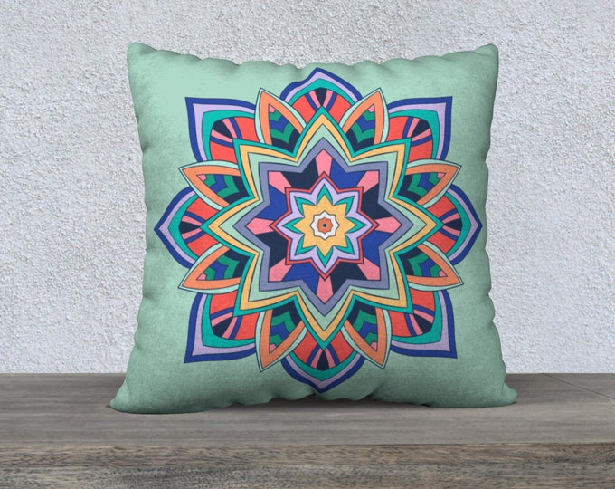 Printed Throw Pillowcase, Sham (22x22) - Expansion (Sage green) | Mandala Pillow Cover