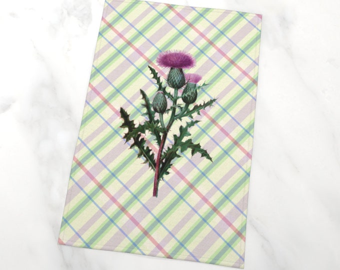 Sottish Thistle Plaid Tea Towel | Thistle Tartan Tea Towel