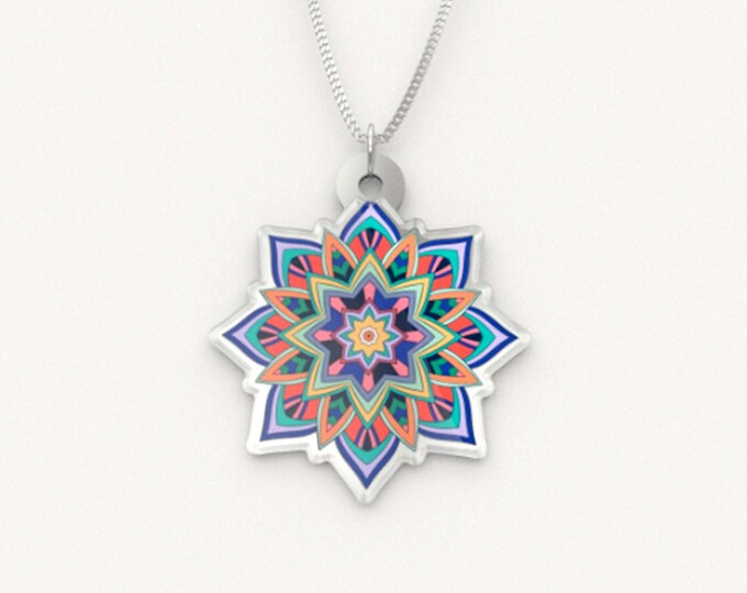 Coloured Mandala Pendant Necklace - Expansion